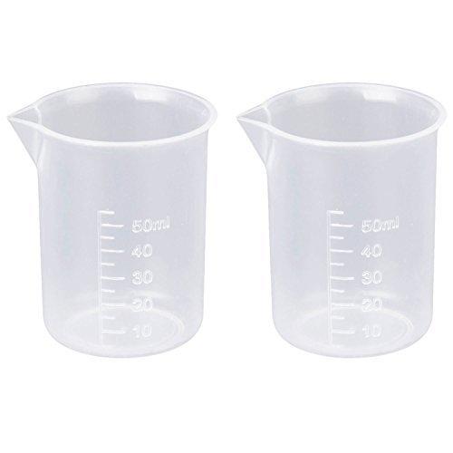 2 Stück 50 ml Transparenter Messbecher für Labor oder Küche | Kunststoff Becher | Klarer Kunststoffbecher für Labor Tests | Beyond Dreams