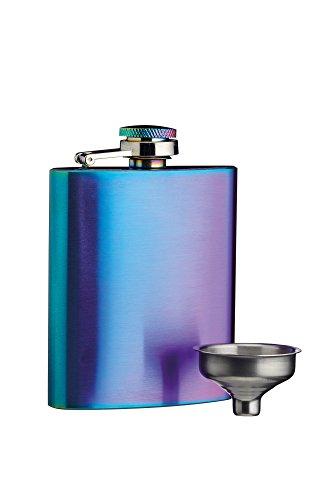 Schillernde Finish (Kitchen Craft BarCraftIrisierender Mini Flachmann mit Dekantiertrichter, 100 ml Regenbogen Finish, Edelstahl, Mehrfarbig, 2 x 7 x 9.8 cm)