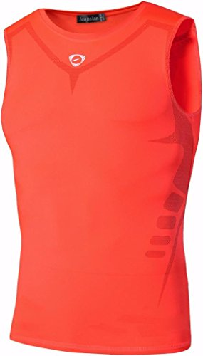 jeansian Herren Sportswear Quick Dry Sleeveless Sports Tank Tops LSL207 Orange XL