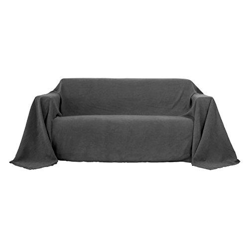 Deconovo Sofa Überwurf Bettüberwurf Sesselbezug Tagesdecke Wildleder Optik 210x280 cm Dunkelgrau