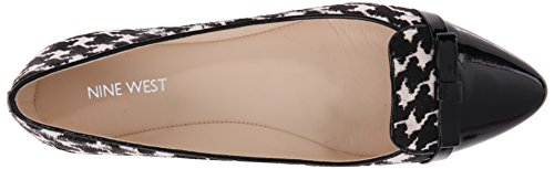 Nine West Saxiphone Cuir Chaussure Plate Bkwh-Bk