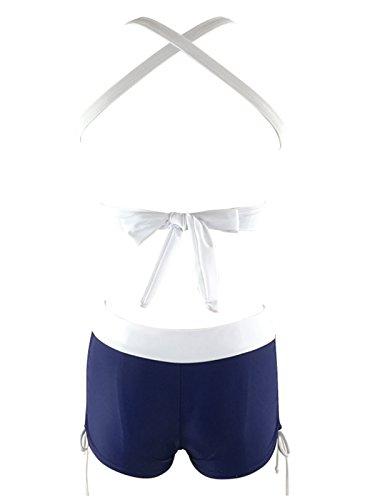 Spring Fever da donna, scollo a V profondo Halter vita alta cinghie costumi da bagno Costume da bagno Navy White