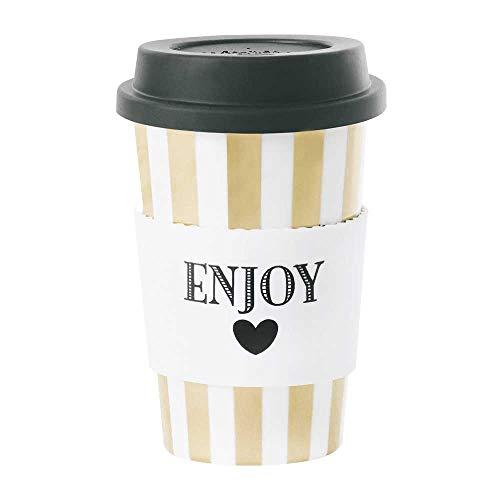 Travel mug Ceramics Enjoy Stripe or 0,5 Ltr. Ø : 9,2 H : 13 cm