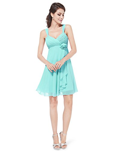 Ever Pretty robe de soirée au genou ornée d'une fleur unique au milieu de la taille 03266 Bleu