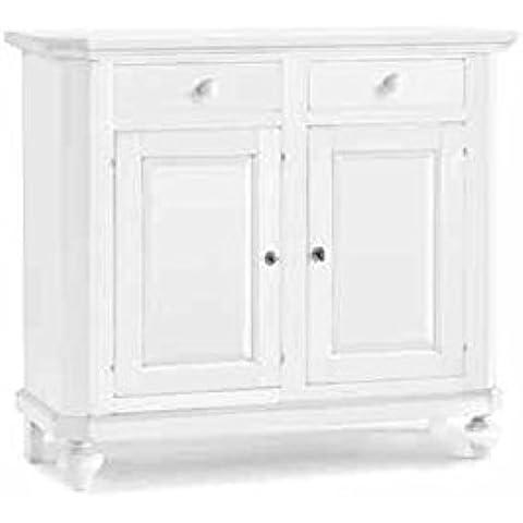 Credenza, stile classico, in legno massello e mdf con rifinitura in bianco opaco - Mis. 112 x 45 x 100