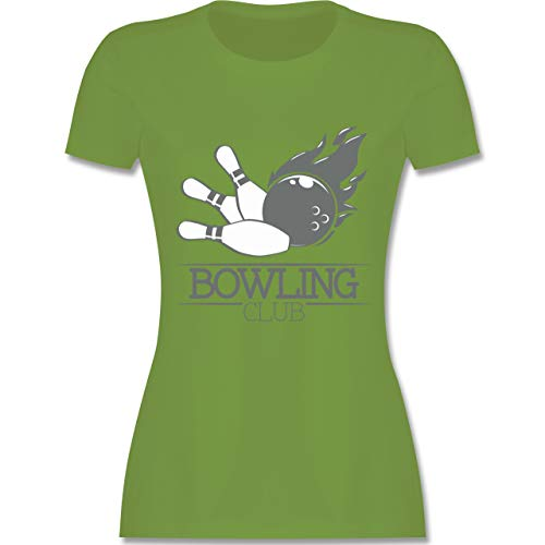 Bowling & Kegeln - Bowling Club Ball Flamme - L - Hellgrün - L191 - Damen Tshirt und Frauen T-Shirt