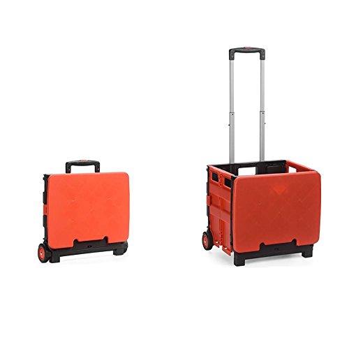 HCC& Einkaufswagen Dolly Mehrzweck tragbar Hohe Kapazität Wagen Büro Depot Mobiler Faltwagen Mit Deckel , Red (Anhängerkupplung Dolly)