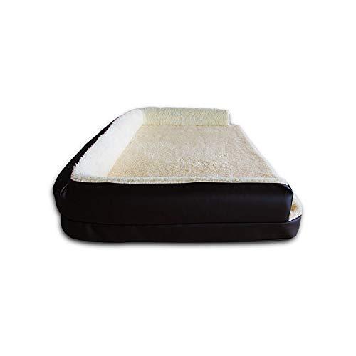 Ventadecolchones - Cama Ortopedica para Perro Deluxe Desenfundable - Grande: 120 x 75 cm - Tela Polipiel Negro - 7 cm de Visco