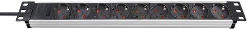 Brennenstuhl Alu-Line 19' Steckdosenleiste 9-fach - Steckerleiste aus hochwertigem Aluminium (2m...