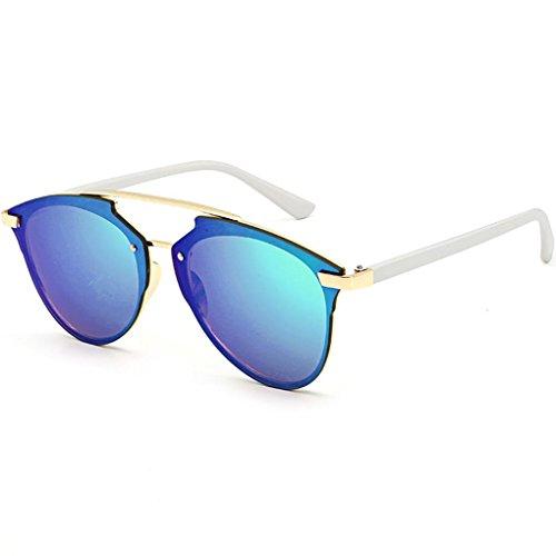 Preisvergleich Produktbild Damen Metallrahmen Sonnenbrille Rosennie Auto Treiber Anti-Reflection Nachtsichtbrille Fahrbrille Reflektierende Street Beat Sonnenbrille Unisex Polarisierte Klassische Runde Retro Sonne Gläser (A)