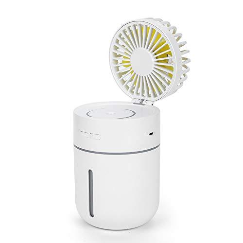Yan Guo00 Spray Fan Atomization Technology Feuchtigkeitsspendende Befeuchtung Mini-USB-Lüfter, Buntes Nachtlicht, Geeignet Für Home/Office/Schlafsaal,White -