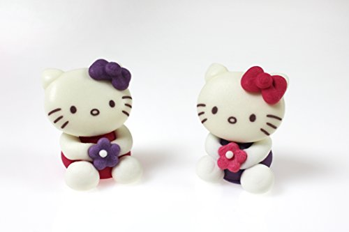 Hello Kitty Figur 3D aus Zucker 28x25x34 mm, 6 Stück Hello Kitty Figuren