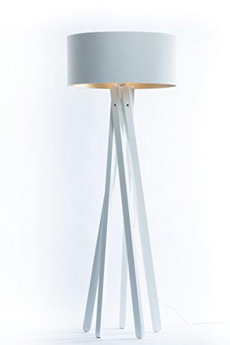 Hochwertige Design Stativ Stehlampe | Studiolampe mit Stoffschirm aus Chintz in weiß gold und Stativ/Gestell aus Holz Echtholz Weiß | H= 160cm | Stehleuchte | Handgefertigte Leuchte