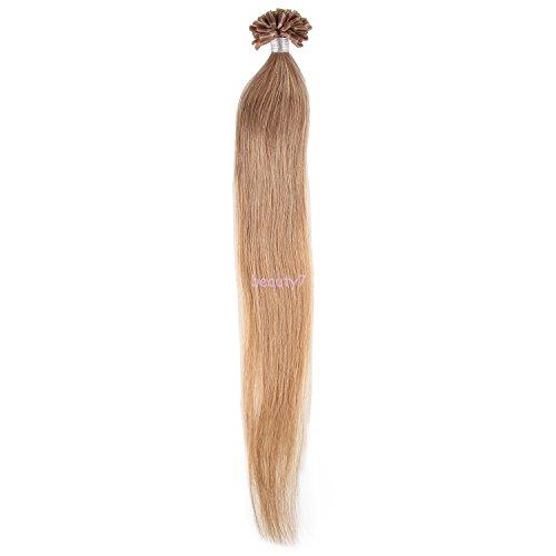Beauty7 50 Extension de Cheveux Humain Naturel Utips Pose a Chaud Raides/Droits / Lisse 100% Remy Hair Poids 50g - 1g/meche - 20inch (50cm) - Couleur Chatain Dore #18