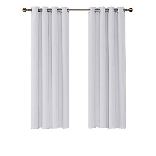 Umi. by Amazon - 2 Stück Verdunkelungsvorhang Ösen Blickdicht Gardinen 180x140 cm Grau Weiß