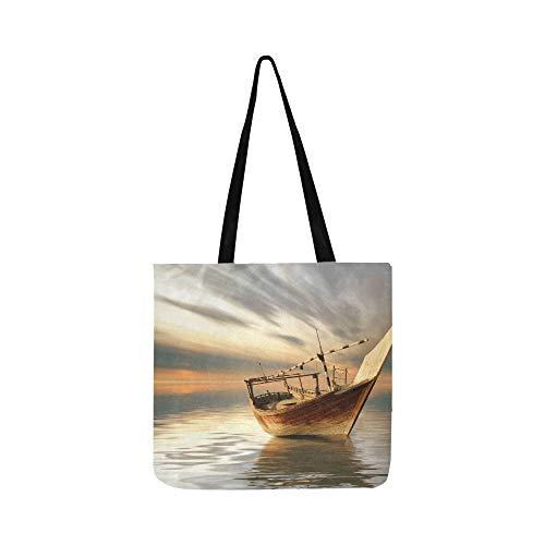 Ein einsames Boot unter einem Baum Canvas Tote Handtasche Schultertasche Crossbody Taschen Geldbörsen für Männer und Frauen Einkaufstasche - Holz-boot-bäume