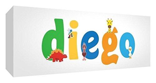Little Helper Leinwand Box Galerie verpackt mit farbigem Front Panel illustrativen Stil mit dem Namen de jeune Jungen Diego 15x 42x 3cm klein