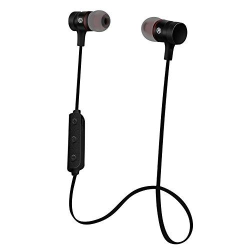 Cuffie Bluetooth Sportive Magnetiche HOISAN Auricolari Wireless (Bluetooth 4.1, aptX, A2DP, con Microfono, Telecomando integrato, Riduzione del rumore CVC 6.0) - Nero