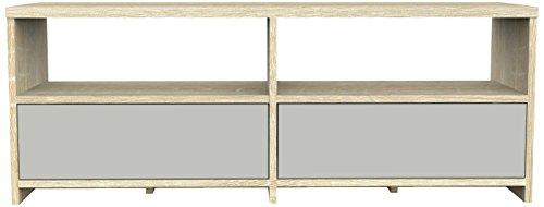 Furniture 247 - mobile tv moderno a 2 cassetti in rovere grigio e sonoma