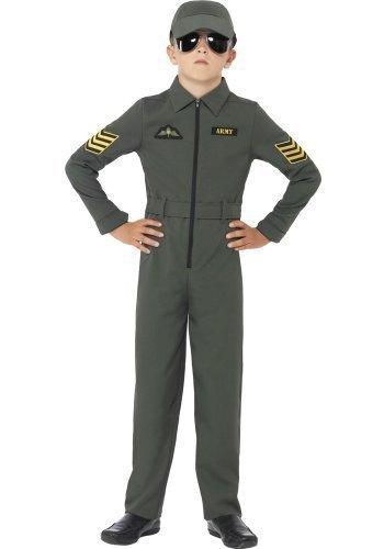 Jungen Armee Aviator Kampfflieger Militär Air Force Uniform Navigator Kostüm Kleid Outfit - Grün, 10-12 Years