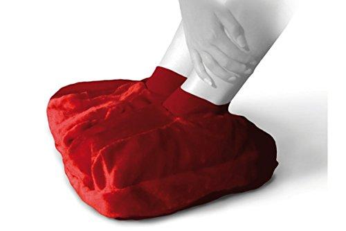 Faba Care Fußwärmer Plüsch, Sänger Wärmflasche 2 L, Fußwärmkissen für warme Füße, Rot
