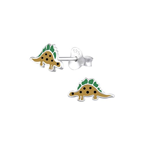 Liara - Kinder Dinosaurier Bunte Ohrstecker 925 Sterling Silber.Poliert und Nickelfrei