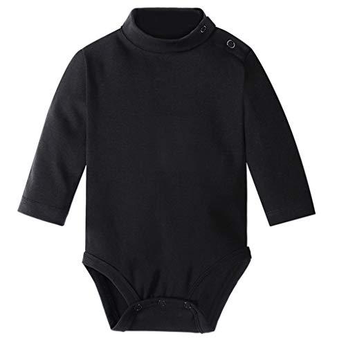 Haorw Babybody, Unisex Baby Langarm-Body Baumwollspielanzug (Schwarz, 18M)
