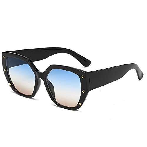 Men's and Women's Sunglasses European and American Fashion Personality Square Rivet Edging Sunglasses C5 Black Box Blue Under Tea -