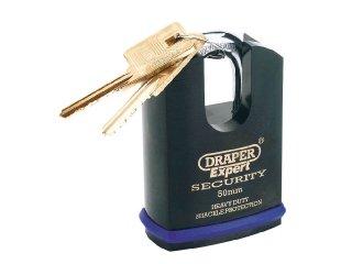 Draper Expert - Candado con horquilla cerrada (2 llaves, alta resisten