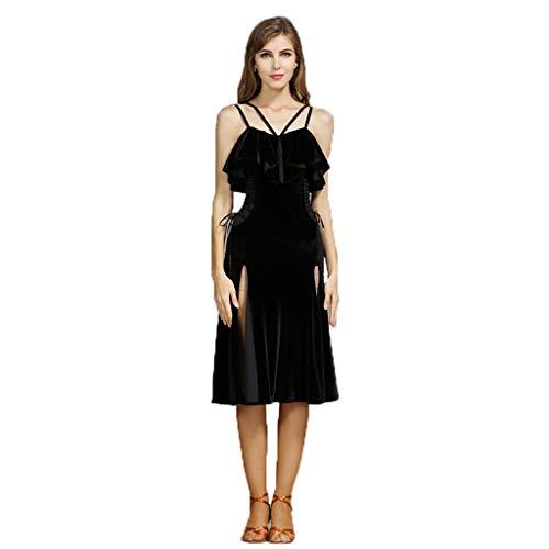 LXYFMS Latin Dance Rock Erwachsene Frau, Schlinge Schlankes Latin Dance Kostüm (Color : Black, Size : L)