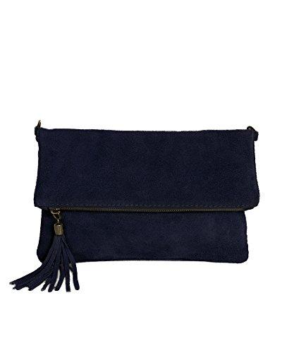 Damen Leder-clutch, Handtaschen (Leder Clutch dunkel blau kleine Ledertasche Wildleder Umhängetasche Abendtasche Partytasche Handtasche Lederhandtasche 24-bue)