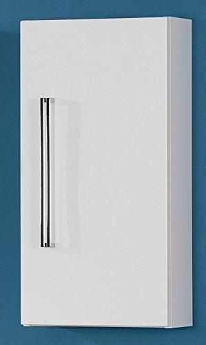 Fackelmann Hängeschrank LUGANO / Schrank zum Aufhängen / Badmöbel / Maße (BxHxT): ca. 35 x 68 x 16 cm/ Korpus Farbe Weiß / Front Farbe Weiß Hochglanz / Breite 35 cm / Schrank fürs Bad