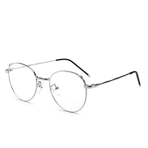 Mkulxina Mode Katze Ohren Metall ovalen Rahmen Anti-Blaue Brille für Männer Frauen gefälschte Gläser für Frauen (Color : Silver)
