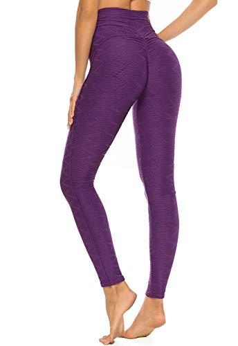 FITTOO Leggings Mallas Mujer Pantalones Deportivos Yoga Alta Cintura Elásticos y Transpirables1500#3 Amorado Mediana
