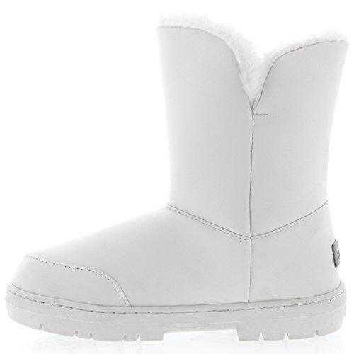 Damen Schuhe Twin Knopf Fell Schnee Regen Stiefel Winter Fur Boots Weiß Leder