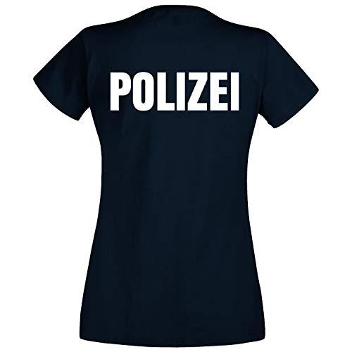 Polizei Frauen Kostüm - Shirt-Panda Damen Polizei T-Shirt - Druck Brust & Rücken Reflex Dunkelblau (Druck Weiß) L