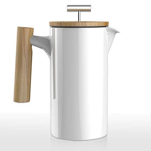 Mano Nordic French Press aus Keramik | 0,75 Liter Kaffee-Bereiter | umweltfreundliche Kaffee-Presse Coffee-Press Espressokocher (weiß glänzend) - Türkische Keramik