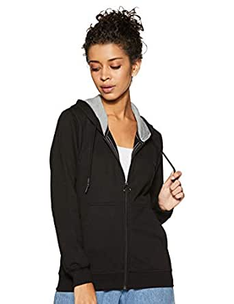 Cazibe Women's Fleece Sweatshirt (307BOU_Black_Medium)