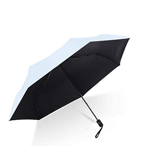 Regenschirm 335g Automatischer Edelstahl-Sonnenschirm Ultraleichter Sonnenschirm Sonnenschutz UV Weiblichen Schwarzen Regenschirm (Color : Blue)
