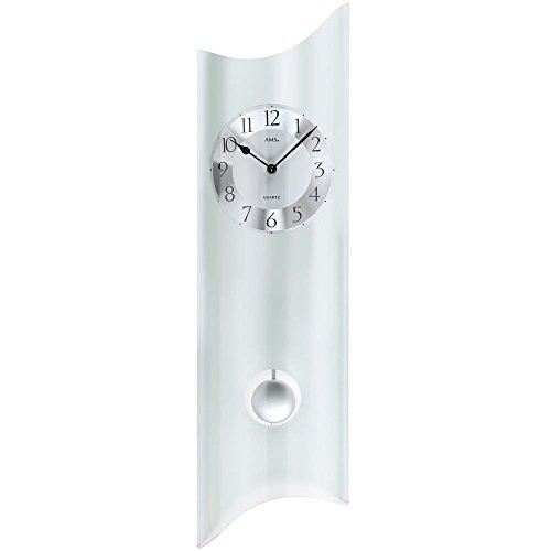 AMS Horloge murale avec balancier en verre avec cadran en métal, look moderne, Analogique et avec horloge à quartz Motif poissons Arc-En-Ciel Suspension