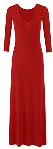 neuen Frauen plus size Trikot Langarm Maxi-Kleid Schaufel Hals strecken maxi Red
