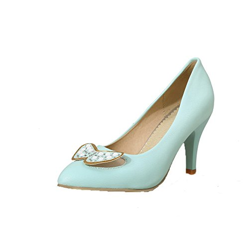 AllhqFashion Femme Tire Pointu à Talon Haut Pu Cuir Mosaïque Chaussures Légeres Bleu Clair