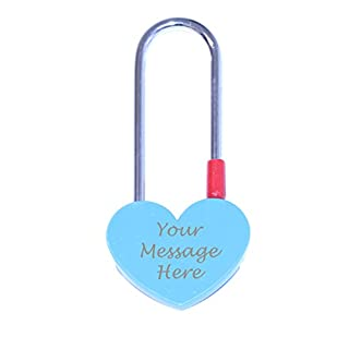 Vincenza Heart Shape Bridge PadLock Lock, Show Your Love Perfect for Valentines, Wedding Favors, Mothers Day & Gifts Available in 7 colours (Blue)
