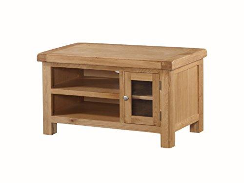 Newport en chêne massif Petit meuble TV plasma Chêne – Meuble TV plasma – Finition : rustique en chêne clair – Meuble de salon