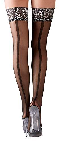 Schwarze verfüherische sexy halterlose Strümpfe mit Naht innen und mit silberfarbenem Abschluss für schwarze Dessous Strapse Strümpfe Slips Strings Unterwäsche Panties Reizwäsche Tangas (S)