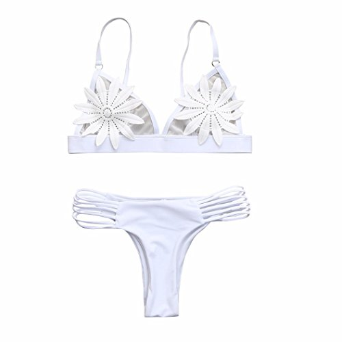 Damen Bikini Set, VJGOAL Heiß! Frauen Mädchen Push-Up gepolsterter BH Floral Bikini Set Badeanzug Sommer Bademode Baden (S, Weiß) (Floral-nylon-strickjacke)