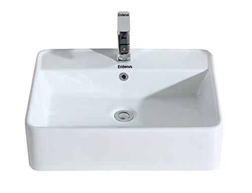 Eridanus, Serie Balaca, Wandwaschbecken, Keramik Wand Waschtisch, Aufsatzwaschbecken mit Überlauf, Rechteckig Waschplatz
