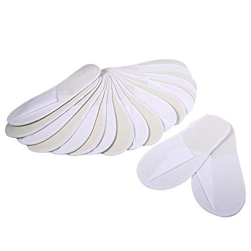 10 Paires Slipper Chaussures Spa Jetables Confortable Invités Pantoufles Voyage Hôtel Pantoufles Bout Fermé en Tissu éponge Nouveau Blanc