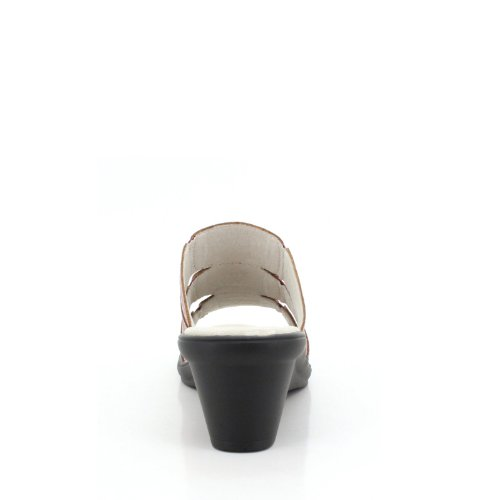 Propet Sorrento Large Cuir Sandales Compensés Metallic Rose Emu