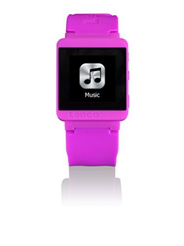 Lenco MP3 Sportwatch-100 Bluetooth Sportuhr mit MP3 (Micro-USB, Touchscreen, Schrittzähler, spritzwassergeschützt nach Norm IPX-4, Silikon-Uhrarmband) pink Sport Mp4 Watch Player